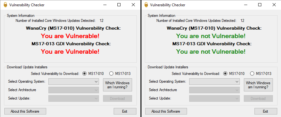 Vulnerability Check Tool for WannaCry MS17-010 and MS17-013 GDI Vulnerability